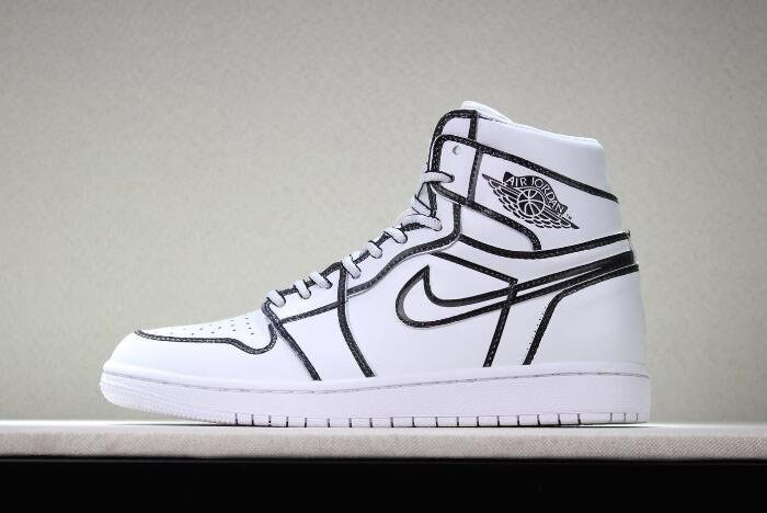 2018 Joshua Vides x Air Jordan 1 Comic 3D Pencil White Hand-Painted AA4724-110