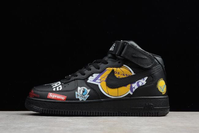 Supreme x NBA x Nike Air Force 1 Mid Black AQ8017-001 Men's Size