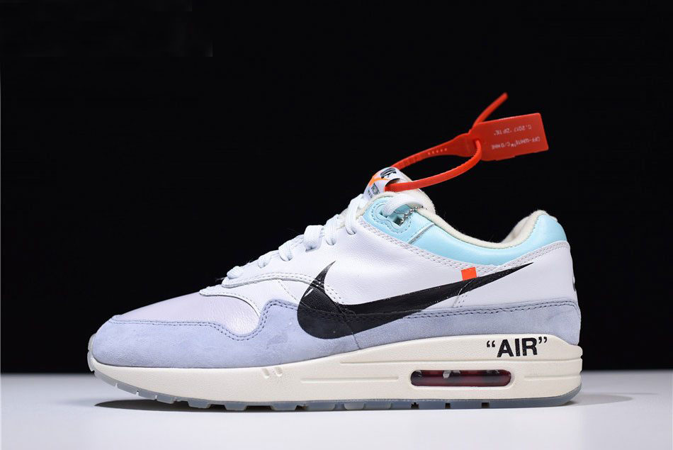 Men's Off-White x Nike Air Max 1 White/Light Blue-Black AA3827-100