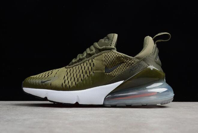 Men's Nike Air Max 270 Medium Olive/Black-Total Orange-White Running Trainer AH8050-201