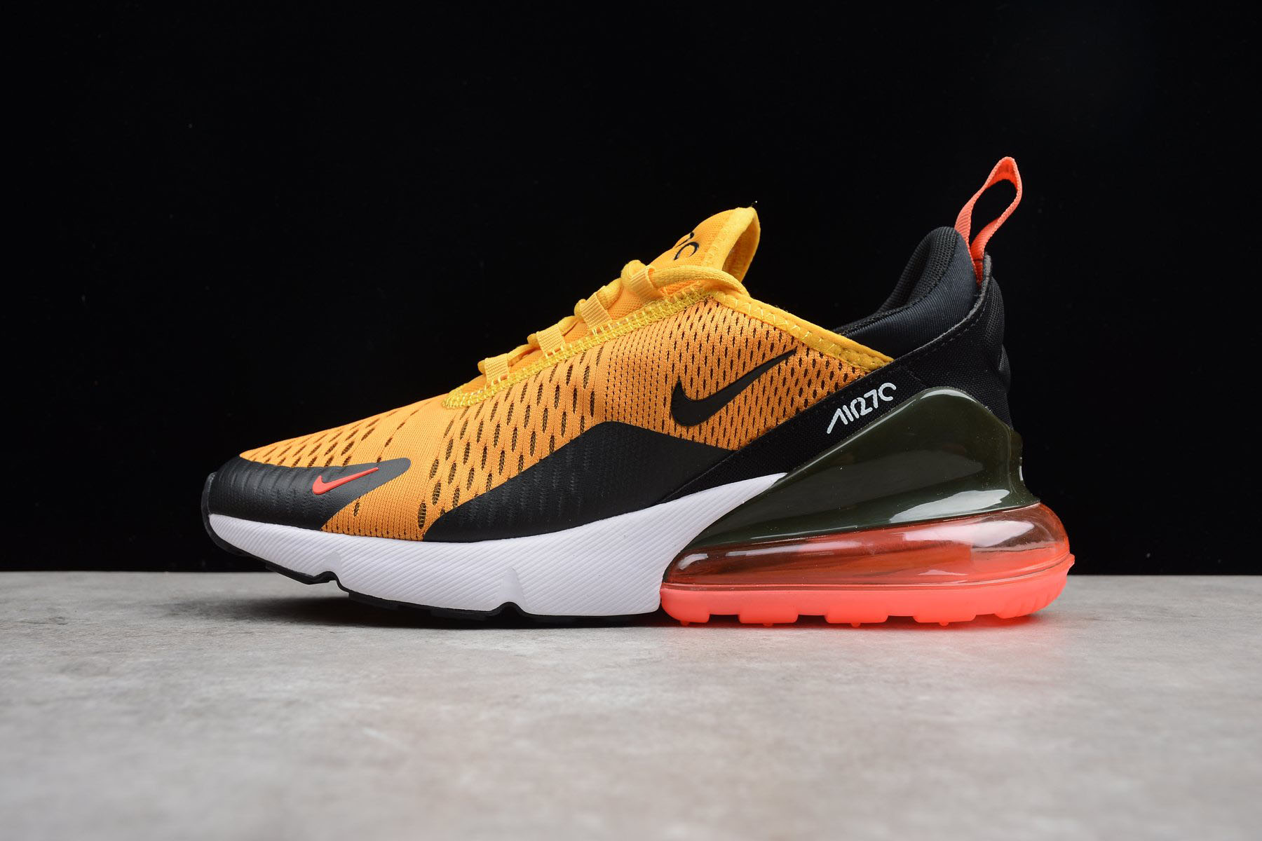 Men's Size Nike Air Max 270 Tiger Black/University Gold-Hot Punch-White AH8050-004