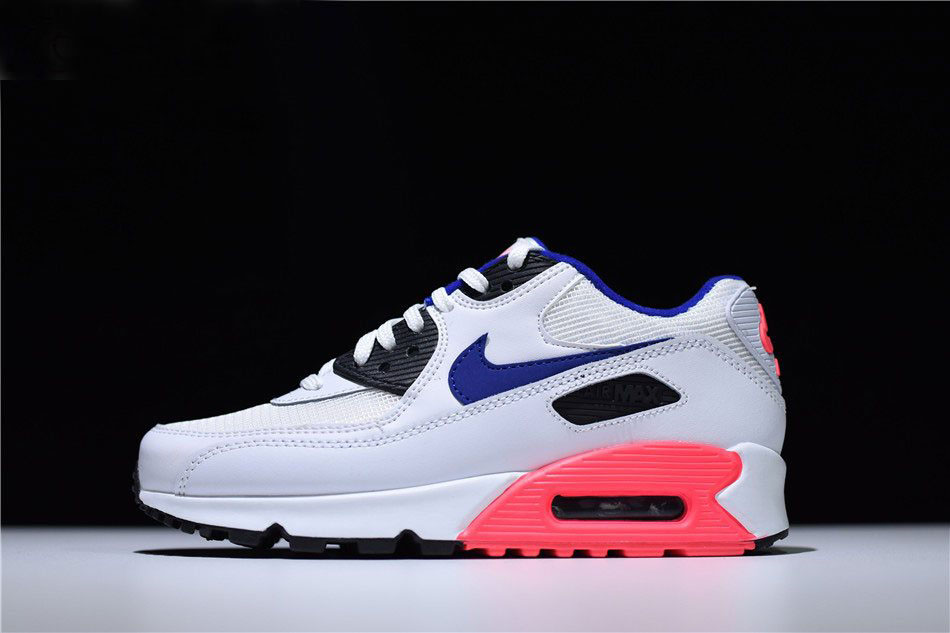 Mens and WMNS Air Max 90 Essential White/Ultramarine-Solar Red-Black 537384-136