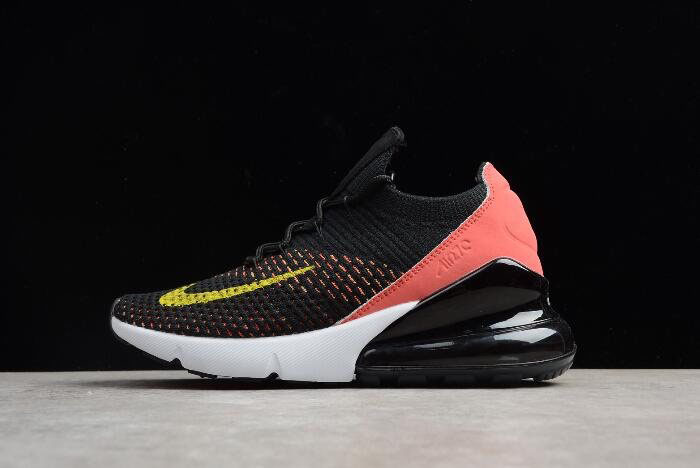 Women's Nike Air Max 270 Flyknit Black/Red White-Yellow AH6803-003