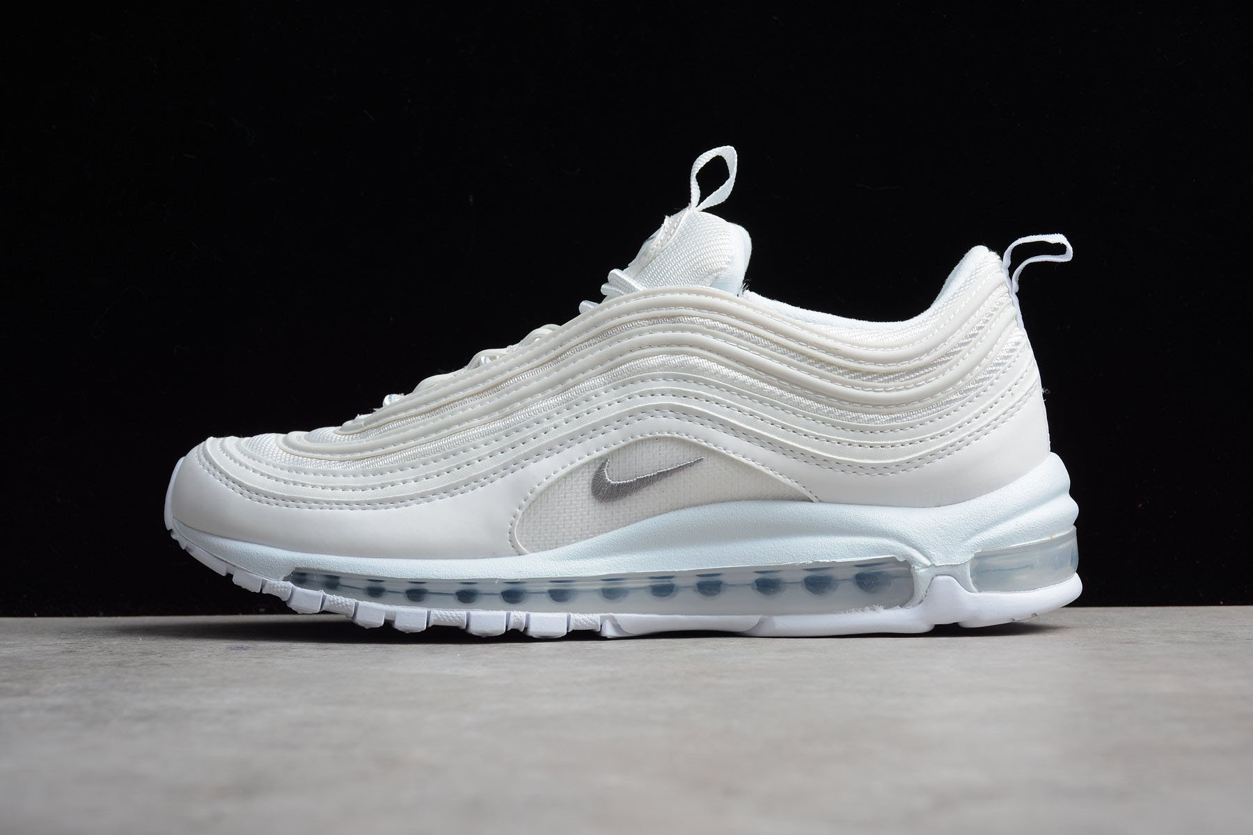 Men's and Women's Nike Air Max 97 Triple White White/Wolf Grey-Black 921826-101