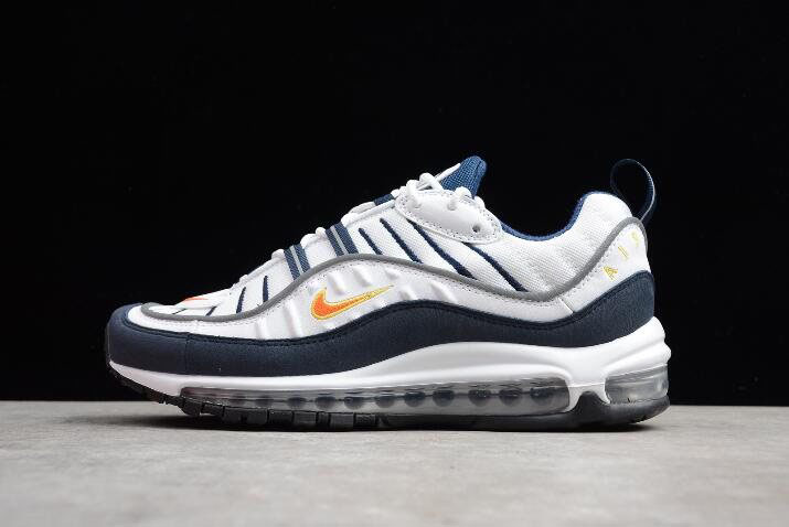 Men's Nike Air Max 98 OG White/Blue/Orange/Metallic Silver 640744-104