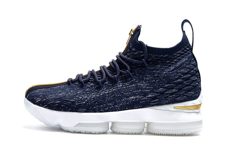 KITH x Nike LeBron 15 Cardozo Navy/White-Gold Men's Basketball Shoes