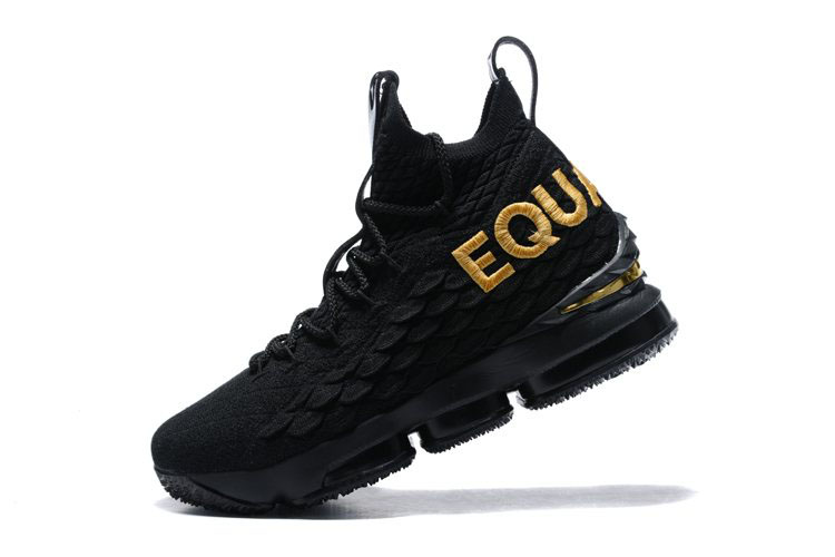 Men's Nike LeBron 15 Equality Black/Metallic Gold Basketball Shoes