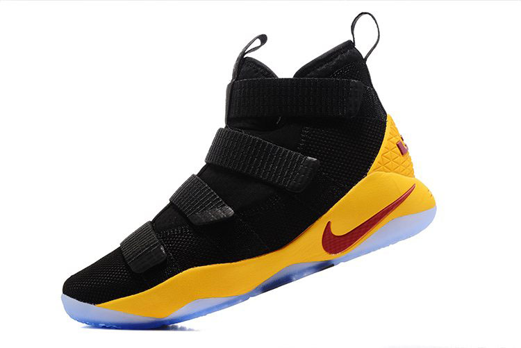 Nike LeBron Soldier 11 Black Yellow Cavs PE Basketball Shoes
