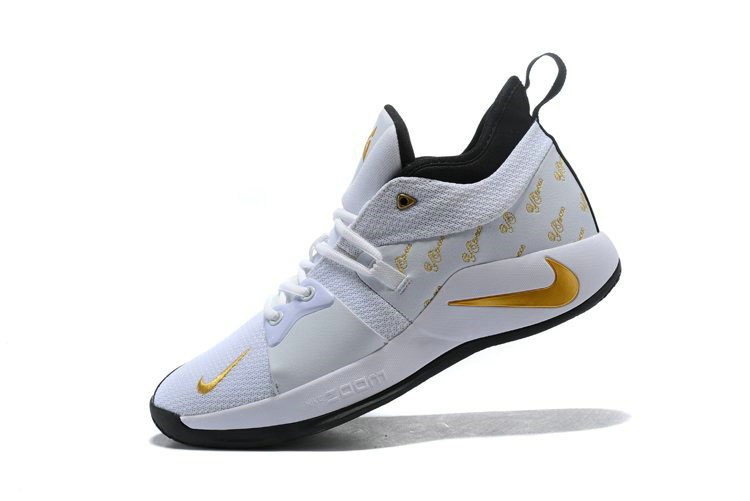 Nike PG 2 White Gold Black Men's Basketball Shoes