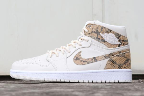 "Air Jordan 1 High Premium ""Snakeskin"" Phantom/White AH7389-004"