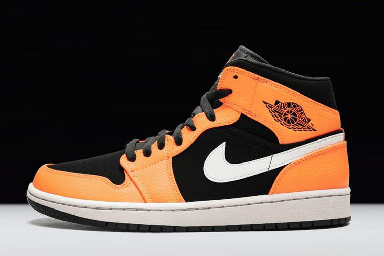 Air Jordan 1 Mid Orange/Black-White 554724-062