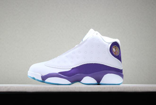 "Kid's Air Jordan 13 ""Hornets"" PE White Purple Basketball Shoes"