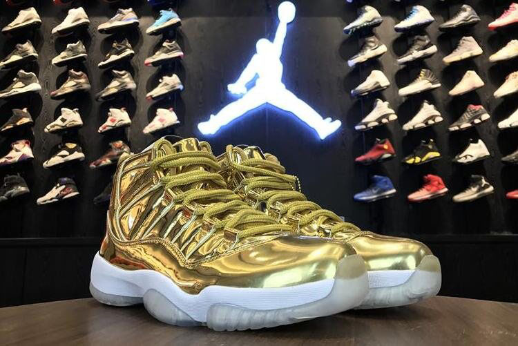 Air Jordan 11 Pinnacle Metallic Gold/White Kawhi Leonard Basketball Shoes