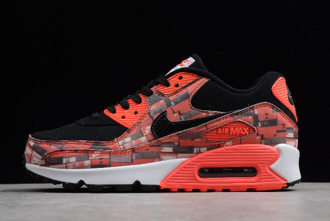 "Atmos x Nike Air Max 90 Print ""We Love Nike"" Black/Bright Crimson-White AQ0926-001"