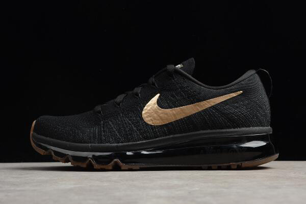Nike Flyknit Air Max Black Gold Men's Running Shoes 845615-993