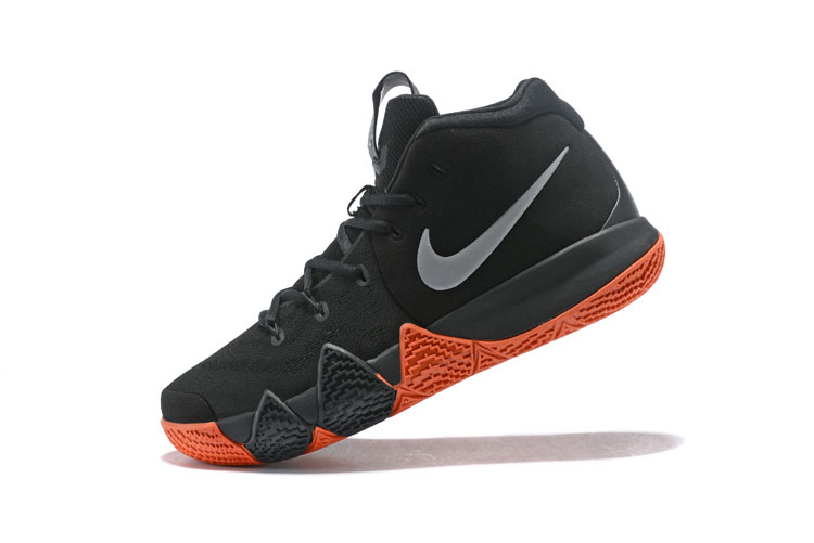 "Nike Kyrie 4 ""Halloween"" Black/Metallic Silver-Bright Orange Basketball Shoes 943806-010"