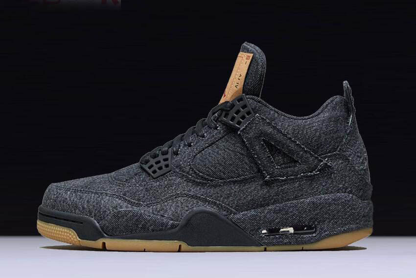 2018 Levi's x Air Jordan 4 Black/Black-Black Men's Basketball Shoes