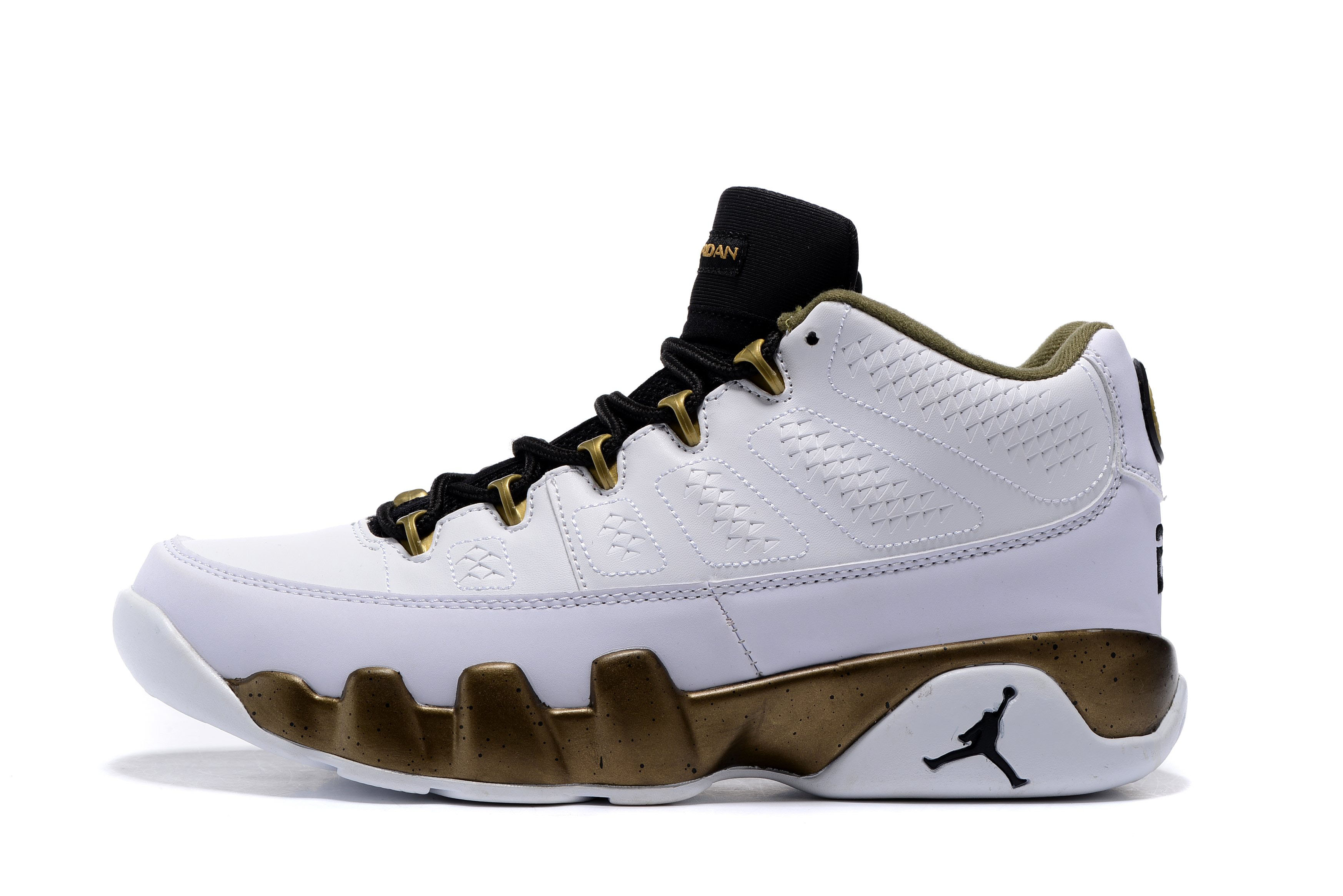 Air Jordan 9 Low Statue White/Black-Militia Green Men's and Women's Size Free Shipping