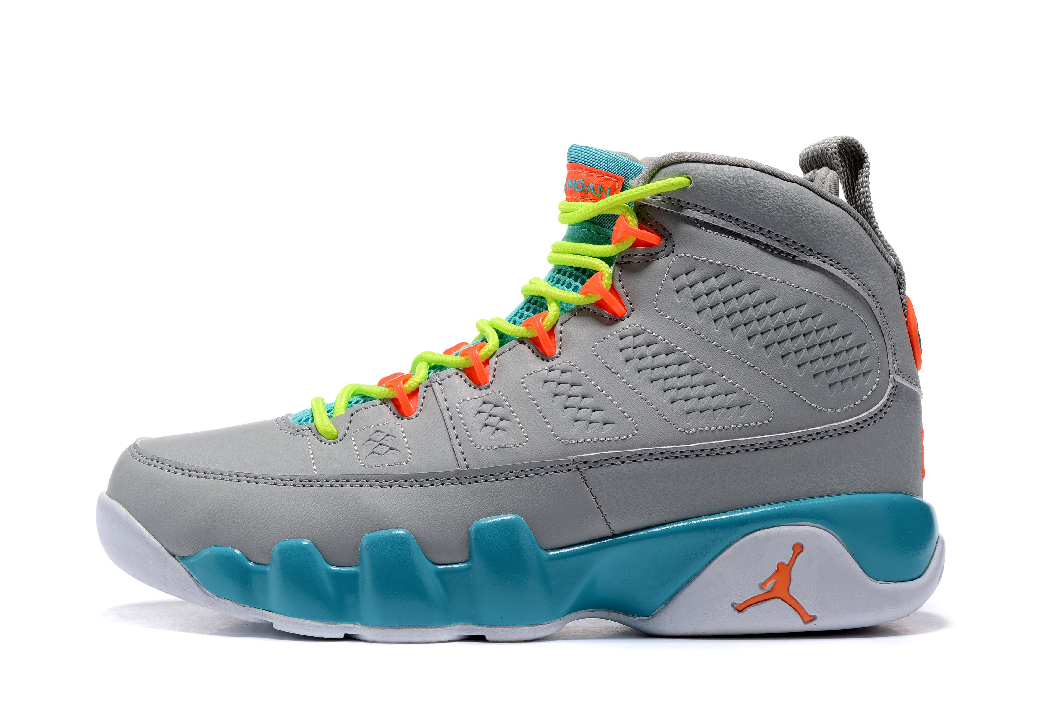 Women's Air Jordan 9 GS Wolf Grey/Orange/Green-White Free Shipping