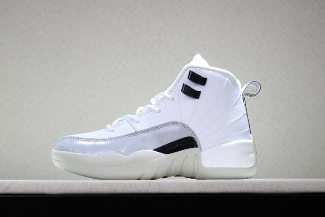 Kid's Air Jordan 12 Barons White/Black-Wolf Grey