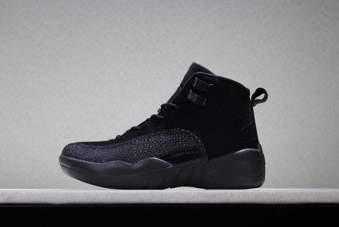 Kid's Air Jordan 12 OVO Black Basketball Shoes