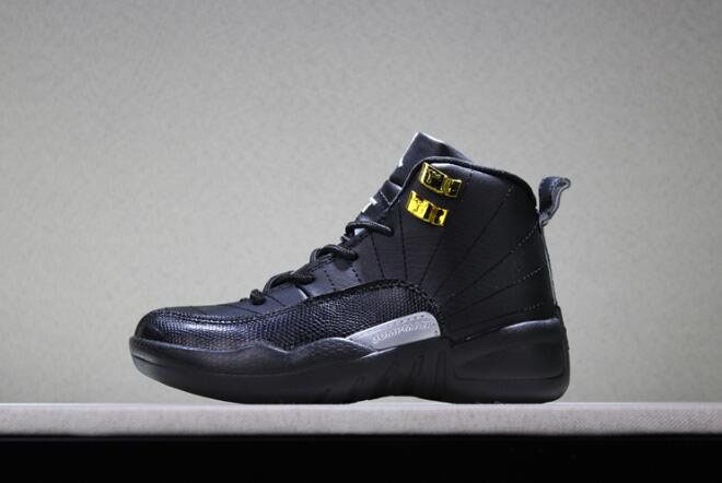 Kid's Air Jordan 12 The Master Black/Rattan-White-Metallic Gold