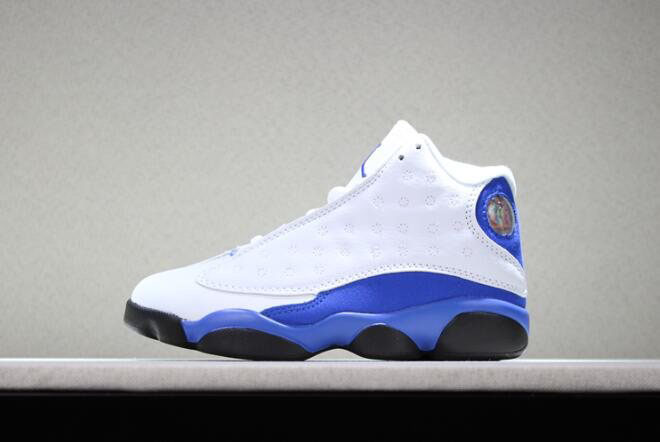 Kid's Air Jordan 13 Hyper Royal White/Royal Blue-Black Basketball Shoes