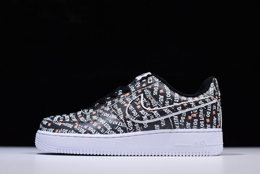 Nike Air Force 1 Low Just Do It Black White Orange AO3977-001 For Sale